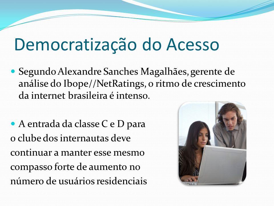 Democratização do Acesso Segundo Alexandre Sanches Magalhães, gerente de análise do Ibope//NetRatings, o ritmo de crescimento da internet brasileira é