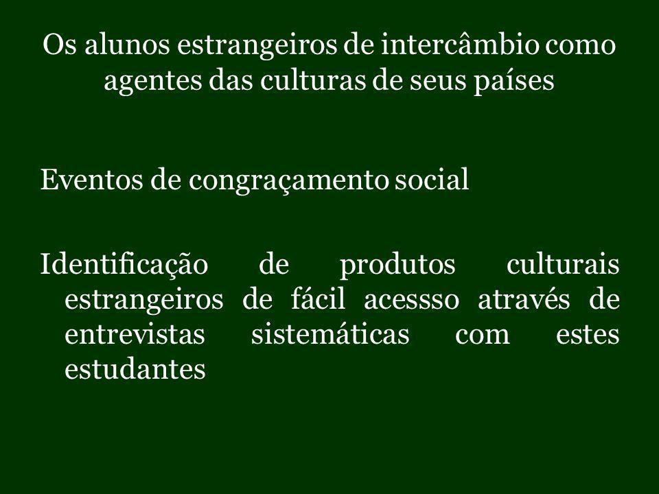 Os alunos estrangeiros de intercâmbio como agentes das culturas de seus países Eventos de congraçamento social Identificação de produtos culturais estrangeiros de fácil acessso através de entrevistas sistemáticas com estes estudantes