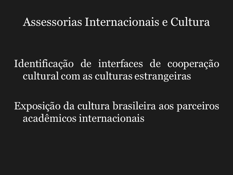 Assessorias Internacionais e Cultura Identificação de interfaces de cooperação cultural com as culturas estrangeiras Exposição da cultura brasileira aos parceiros acadêmicos internacionais