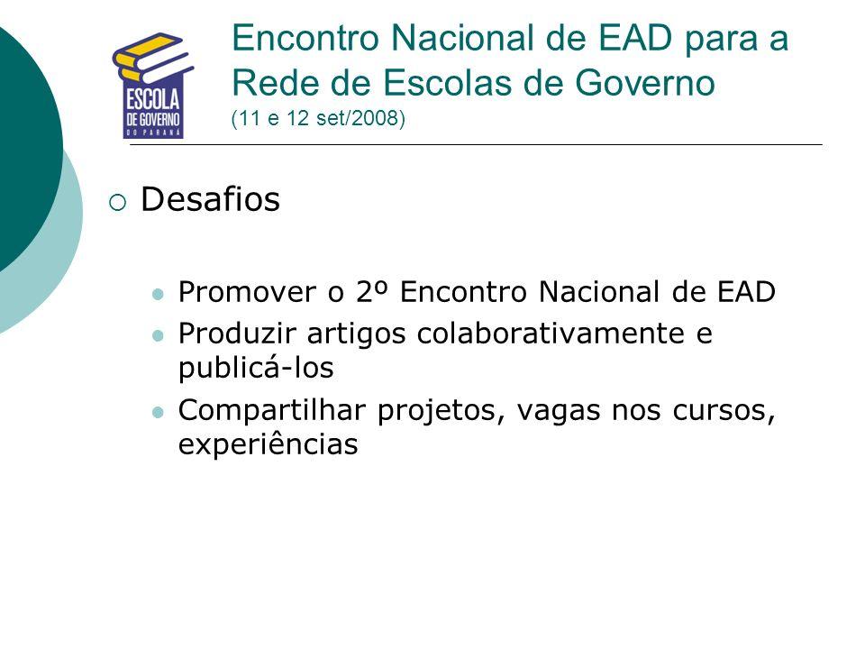 Encontro Nacional de EAD para a Rede de Escolas de Governo (11 e 12 set/2008) Desafios Promover o 2º Encontro Nacional de EAD Produzir artigos colabor