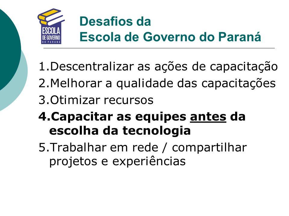 Desafios da Escola de Governo do Paraná 1.Descentralizar as ações de capacitação 2.Melhorar a qualidade das capacitações 3.Otimizar recursos 4.Capacit