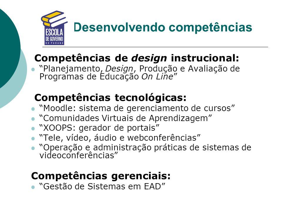 Desenvolvendo competências Competências de design instrucional: Planejamento, Design, Produção e Avaliação de Programas de Educação On Line Competênci