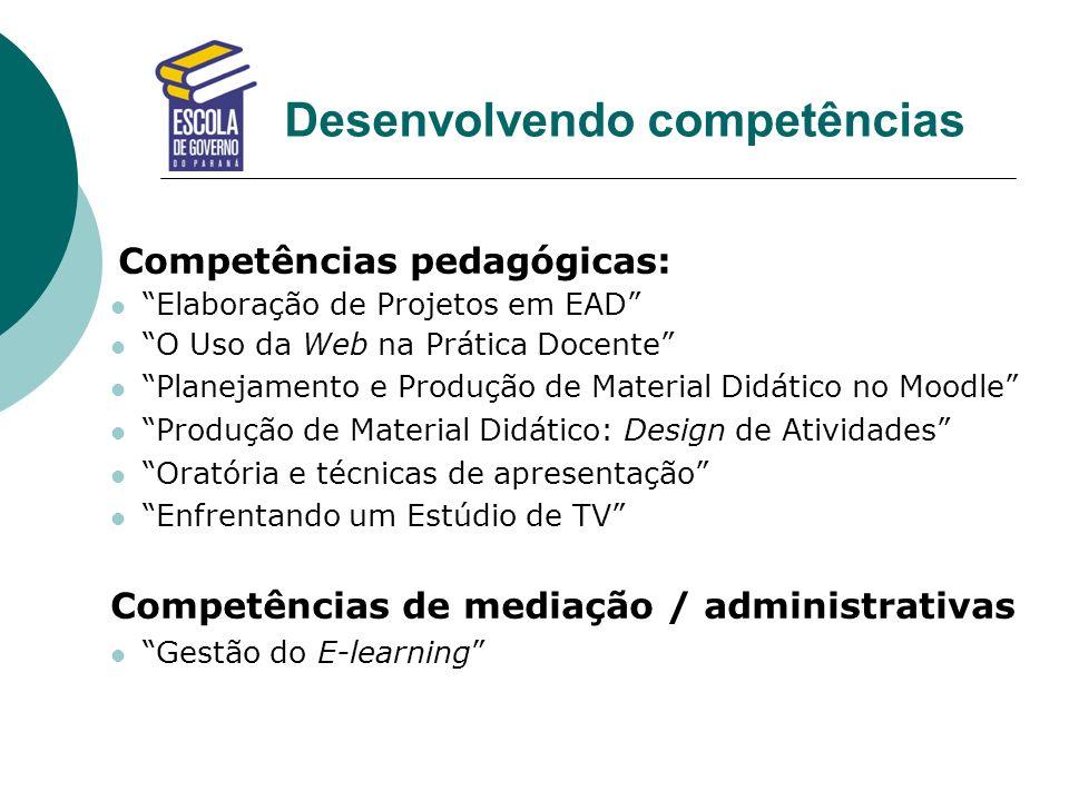 Desenvolvendo competências Competências pedagógicas: Elaboração de Projetos em EAD O Uso da Web na Prática Docente Planejamento e Produção de Material