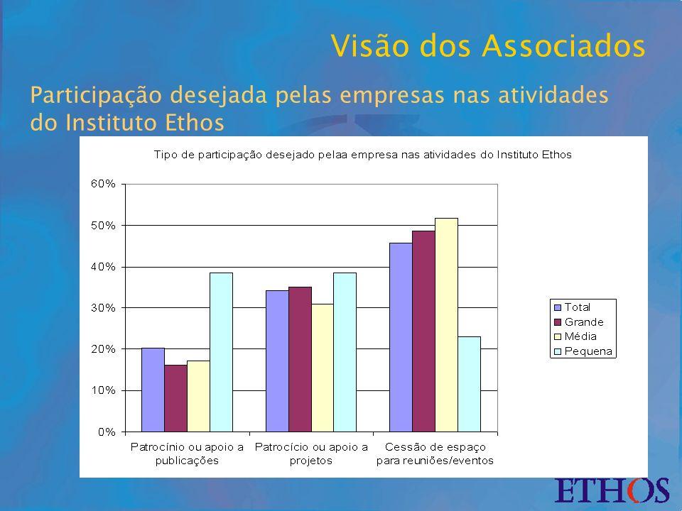 Participação desejada pelas empresas nas atividades do Instituto Ethos Visão dos Associados