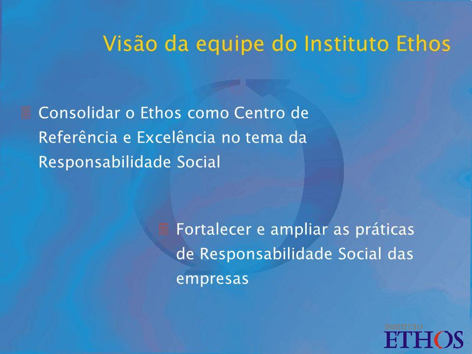Visão da equipe do Instituto Ethos 3Consolidar o Ethos como Centro de Referência e Excelência no tema da Responsabilidade Social 3Fortalecer e ampliar as práticas de Responsabilidade Social das empresas