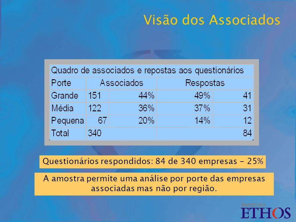 Visão dos Associados Questionários respondidos: 84 de 340 empresas - 25% A amostra permite uma análise por porte das empresas associadas mas não por região.