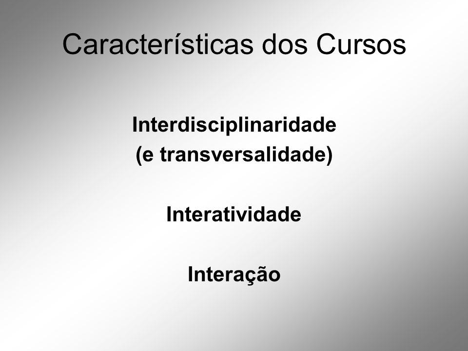 Características dos Cursos Interdisciplinaridade (e transversalidade) Interatividade Interação