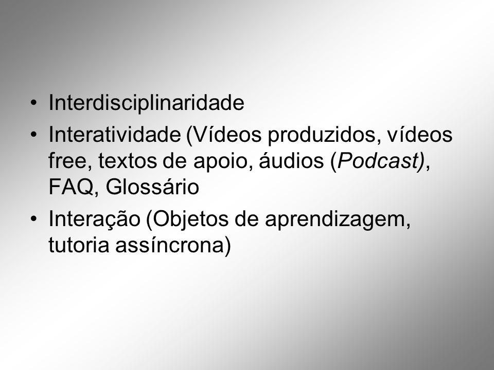 Interdisciplinaridade Interatividade (Vídeos produzidos, vídeos free, textos de apoio, áudios (Podcast), FAQ, Glossário Interação (Objetos de aprendizagem, tutoria assíncrona)