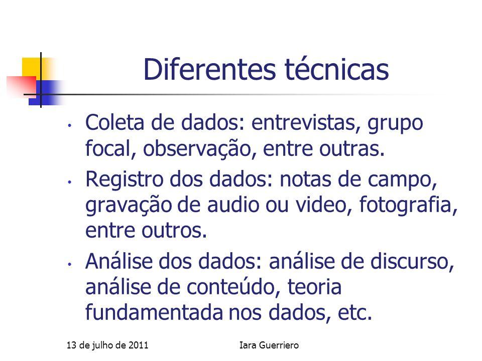 Diferentes técnicas Coleta de dados: entrevistas, grupo focal, observação, entre outras. Registro dos dados: notas de campo, gravação de audio ou vide