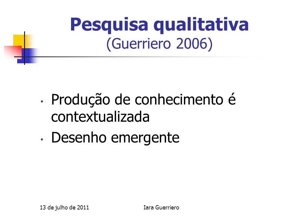 Pesquisa qualitativa (Guerriero 2006) Produção de conhecimento é contextualizada Desenho emergente 13 de julho de 2011Iara Guerriero