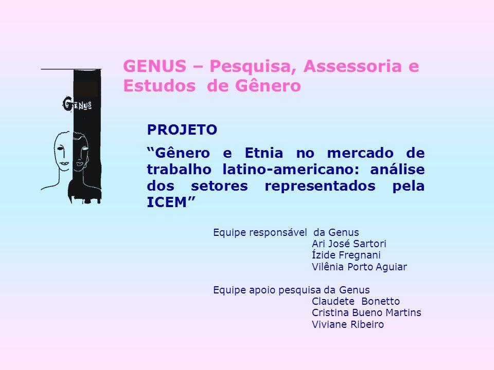 PROJETO Gênero e Etnia no mercado de trabalho latino-americano: análise dos setores representados pela ICEM Equipe responsável da Genus Ari José Sarto