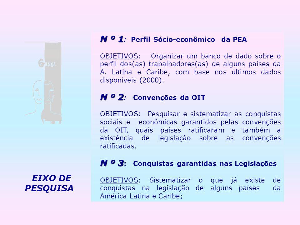 N º 1 N º 1 : Perfil Sócio-econômico da PEA OBJETIVOS: Organizar um banco de dado sobre o perfil dos(as) trabalhadores(as) de alguns países da A. Lati