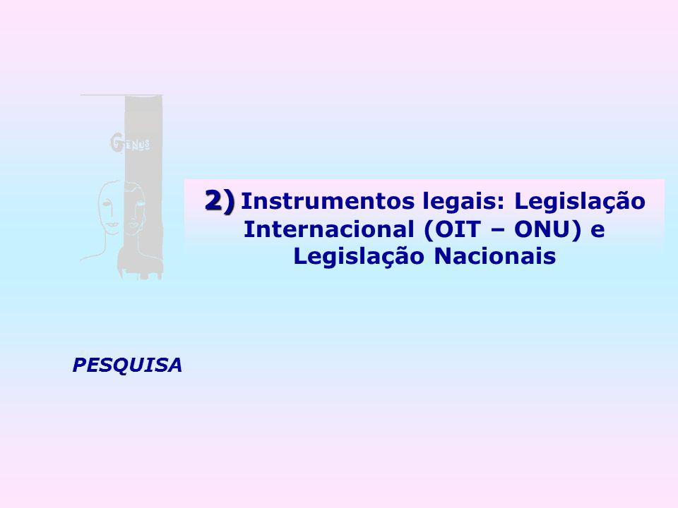 PESQUISA 2) 2) Instrumentos legais: Legislação Internacional (OIT – ONU) e Legislação Nacionais