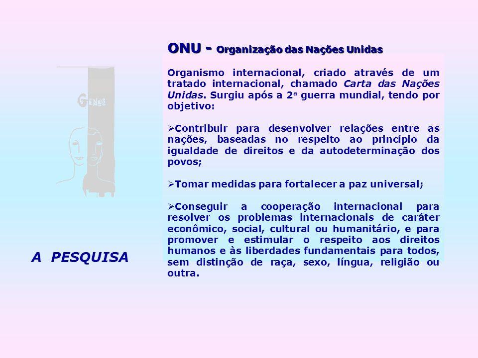 A PESQUISA ONU - Organização das Nações Unidas Organismo internacional, criado através de um tratado internacional, chamado Carta das Nações Unidas. S
