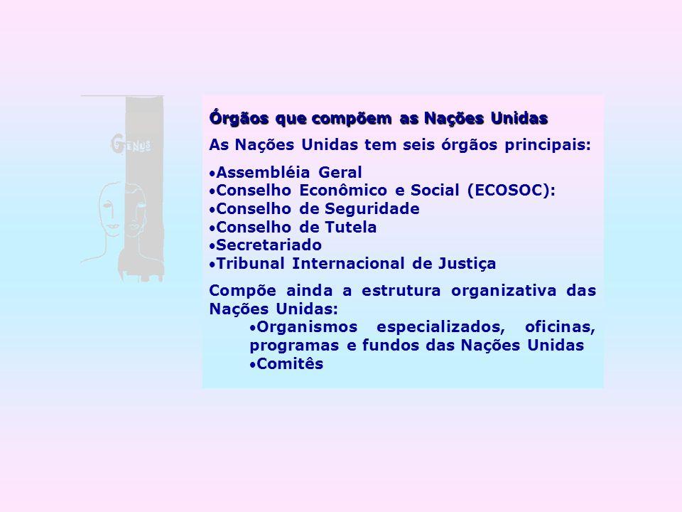 Órgãos que compõem as Nações Unidas As Nações Unidas tem seis órgãos principais: Assembléia Geral Conselho Econômico e Social (ECOSOC): Conselho de Se