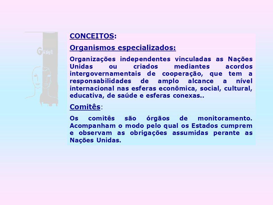 CONCEITOS: Organismos especializados: Organizações independentes vinculadas as Nações Unidas ou criados mediantes acordos intergovernamentais de coope