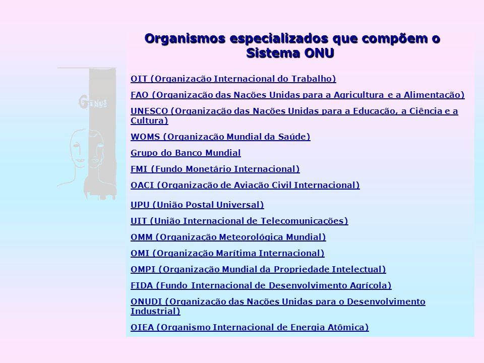 Organismos especializados que compõem o Sistema ONU Sistema ONU OIT (Organização Internacional do Trabalho) FAO (Organização das Nações Unidas para a
