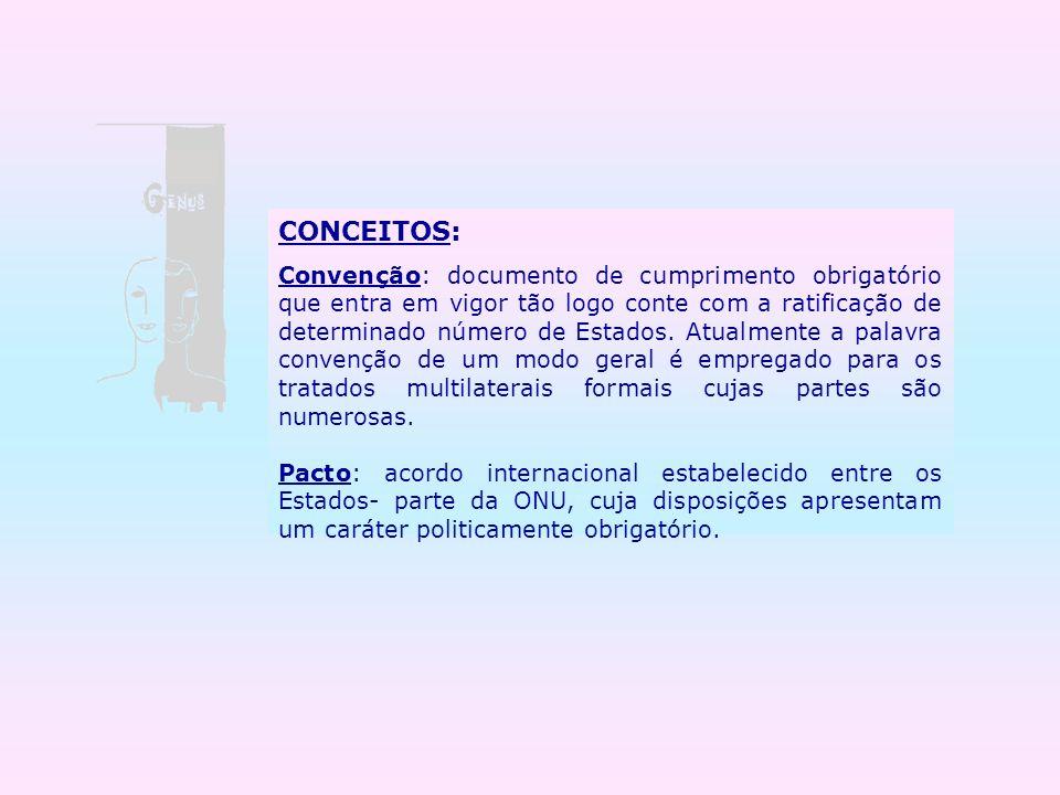 CONCEITOS: Convenção: documento de cumprimento obrigatório que entra em vigor tão logo conte com a ratificação de determinado número de Estados. Atual