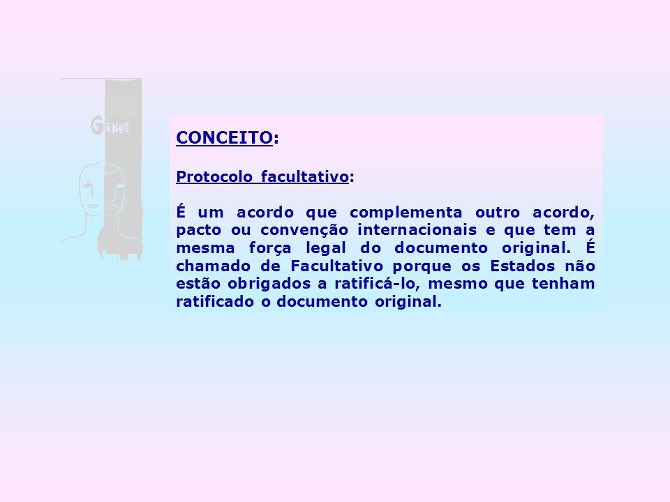 CONCEITO: Protocolo facultativo: É um acordo que complementa outro acordo, pacto ou convenção internacionais e que tem a mesma força legal do document