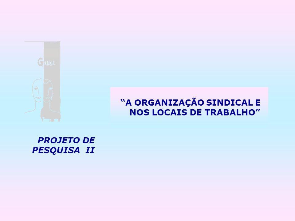 PROJETO DE PESQUISA II A ORGANIZAÇÃO SINDICAL E NOS LOCAIS DE TRABALHO
