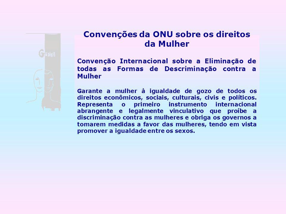Convenções da ONU sobre os direitos da Mulher Convenção Internacional sobre a Eliminação de todas as Formas de Descriminação contra a Mulher Garante a