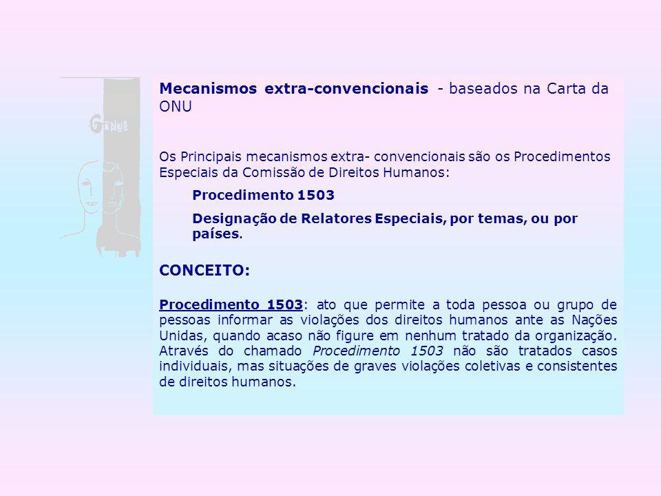 Mecanismos extra-convencionais - baseados na Carta da ONU Os Principais mecanismos extra- convencionais são os Procedimentos Especiais da Comissão de