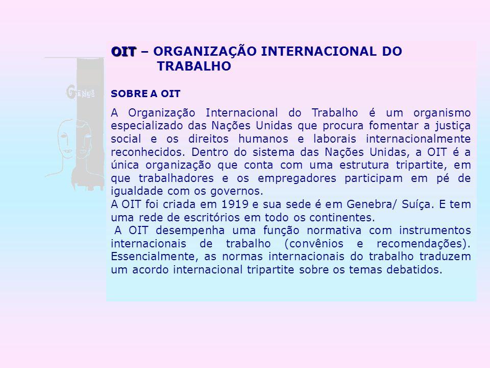 OIT OIT – ORGANIZAÇÃO INTERNACIONAL DO TRABALHO SOBRE A OIT A Organização Internacional do Trabalho é um organismo especializado das Nações Unidas que