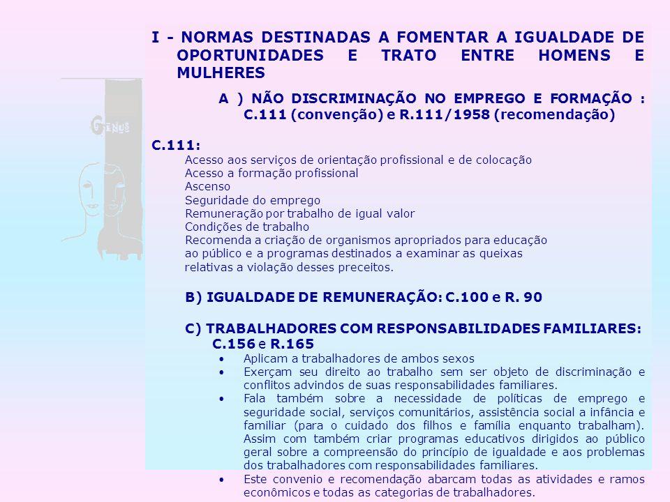 I - NORMAS DESTINADAS A FOMENTAR A IGUALDADE DE OPORTUNIDADES E TRATO ENTRE HOMENS E MULHERES A ) NÃO DISCRIMINAÇÃO NO EMPREGO E FORMAÇÃO : C.111 (con