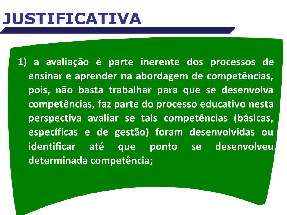 1) a avaliação é parte inerente dos processos de ensinar e aprender na abordagem de competências, pois, não basta trabalhar para que se desenvolva com
