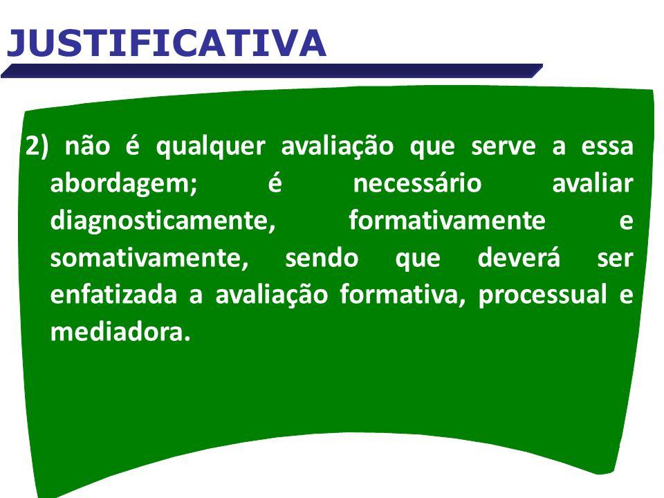 2) não é qualquer avaliação que serve a essa abordagem; é necessário avaliar diagnosticamente, formativamente e somativamente, sendo que deverá ser en