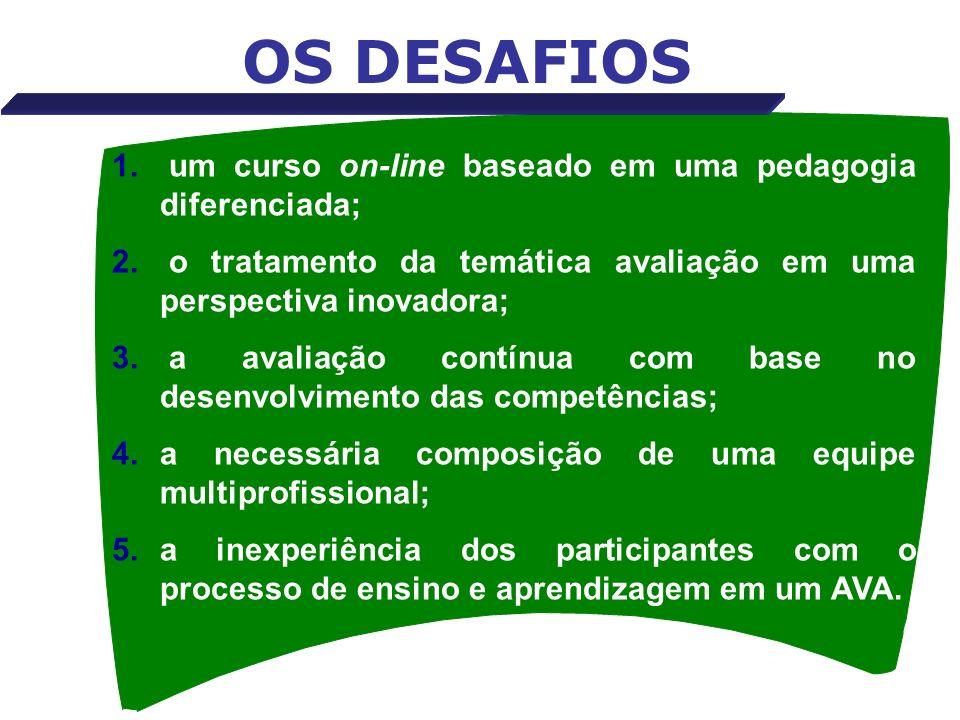 OS DESAFIOS 1. um curso on-line baseado em uma pedagogia diferenciada; 2. o tratamento da temática avaliação em uma perspectiva inovadora; 3. a avalia
