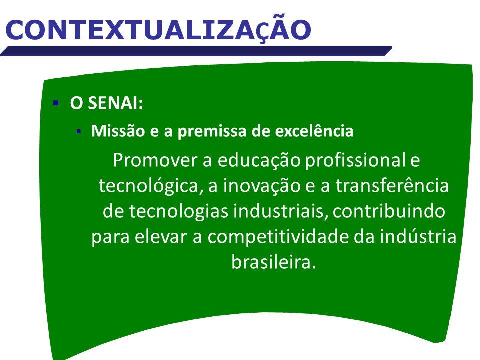 O SENAI: Missão e a premissa de excelência Promover a educação profissional e tecnológica, a inovação e a transferência de tecnologias industriais, co