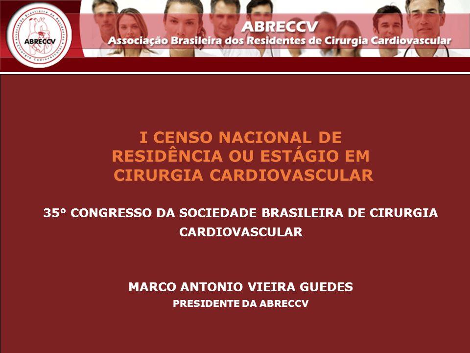 I CENSO NACIONAL DE RESIDÊNCIA OU ESTÁGIO EM CIRURGIA CARDIOVASCULAR 35° CONGRESSO DA SOCIEDADE BRASILEIRA DE CIRURGIA CARDIOVASCULAR MARCO ANTONIO VI