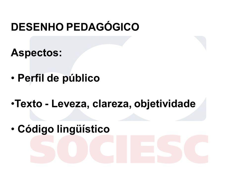 DESENHO PEDAGÓGICO Aspectos: Perfil de público Texto - Leveza, clareza, objetividade Código lingüístico