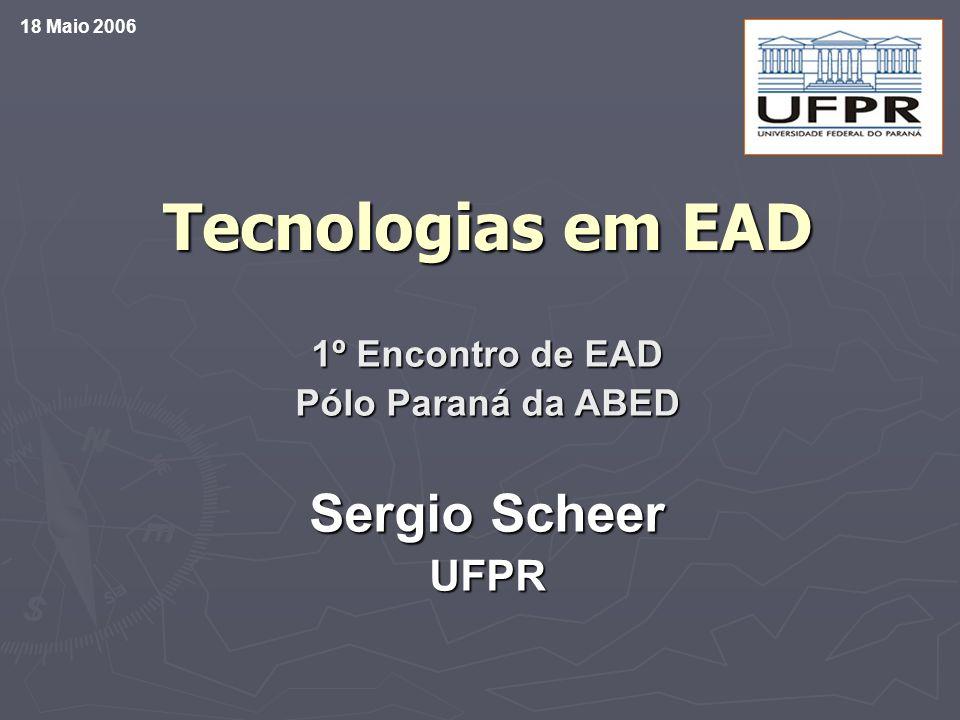 Ambientes de Apoio – L(C)MS Learning (Content) Management Systems Eureka (PUCPR) Eureka (PUCPR) AulaNet (PUCRJ) AulaNet (PUCRJ) TelEduc (Unicamp) TelEduc (Unicamp) Civix, Pro-CREA, WebPG (GrupoTIC/CESEC/UFPR) Civix, Pro-CREA, WebPG (GrupoTIC/CESEC/UFPR) administr., manutenção e assistência de cursos administr., manutenção e assistência de cursos participação, comunicação e cooperação entre alunos e professores participação, comunicação e cooperação entre alunos e professores tecnologias disponíveis na Internet.