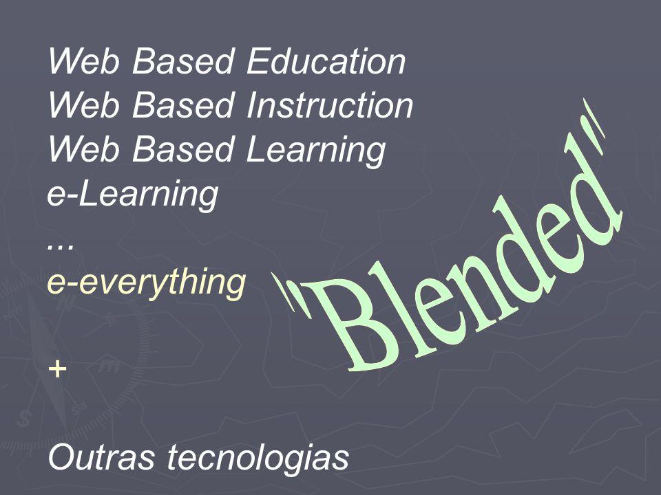 Web Based Education Web Based Instruction Web Based Learning e-Learning... e-everything + Outras tecnologias