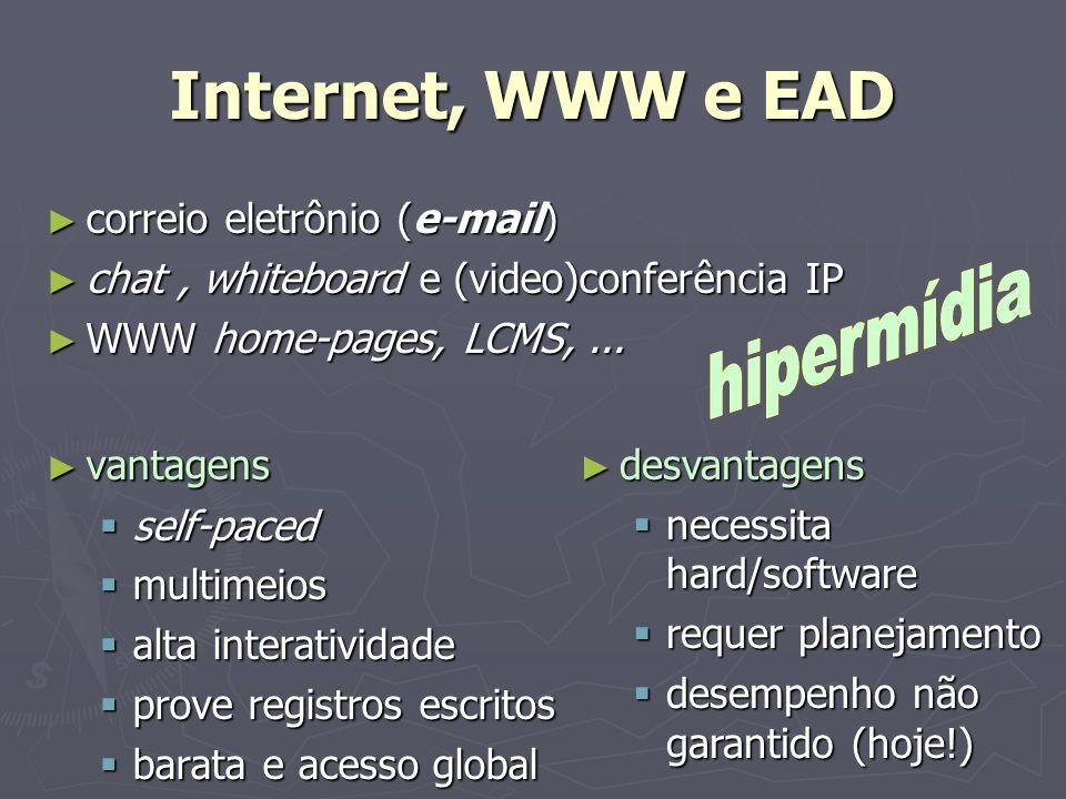 Internet, WWW e EAD correio eletrônio (e-mail) correio eletrônio (e-mail) chat, whiteboard e (video)conferência IP chat, whiteboard e (video)conferênc