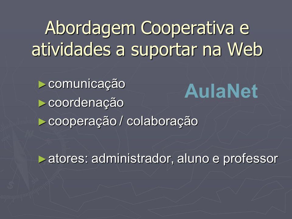 Abordagem Cooperativa e atividades a suportar na Web comunicação comunicação coordenação coordenação cooperação / colaboração cooperação / colaboração