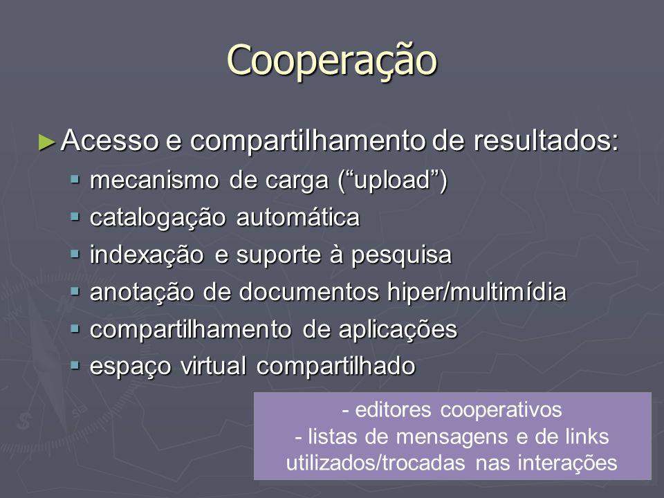 Cooperação Acesso e compartilhamento de resultados: Acesso e compartilhamento de resultados: mecanismo de carga (upload) mecanismo de carga (upload) c