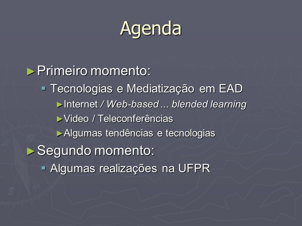Agenda Primeiro momento: Primeiro momento: Tecnologias e Mediatização em EAD Tecnologias e Mediatização em EAD Internet / Web-based... blended learnin