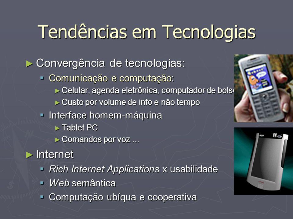 Tendências em Tecnologias Convergência de tecnologias: Convergência de tecnologias: Comunicação e computação: Comunicação e computação: Celular, agend