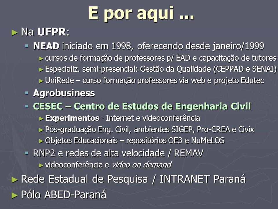 E por aqui... Na UFPR: Na UFPR: NEAD iniciado em 1998, oferecendo desde janeiro/1999 NEAD iniciado em 1998, oferecendo desde janeiro/1999 cursos de fo