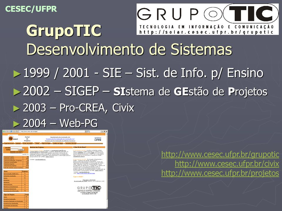 GrupoTIC Desenvolvimento de Sistemas 1999 / 2001 - SIE – Sist. de Info. p/ Ensino 1999 / 2001 - SIE – Sist. de Info. p/ Ensino 2002 – SIGEP – SIstema
