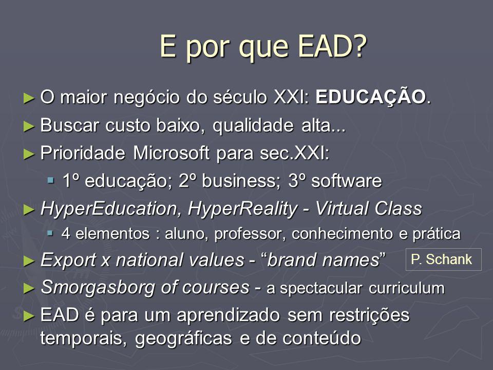 E por que EAD? O maior negócio do século XXI: EDUCAÇÃO. O maior negócio do século XXI: EDUCAÇÃO. Buscar custo baixo, qualidade alta... Buscar custo ba