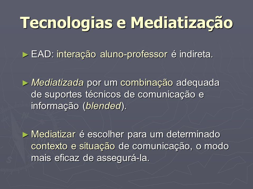 Tecnologias e Mediatização EAD: interação aluno-professor é indireta. EAD: interação aluno-professor é indireta. Mediatizada por um combinação adequad