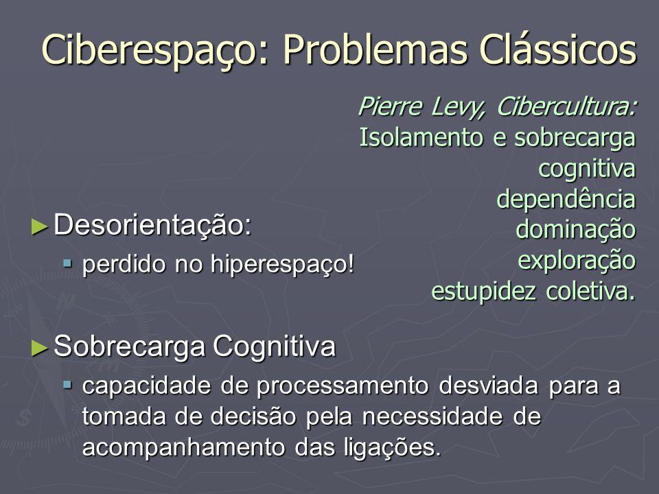 Ciberespaço: Problemas Clássicos Desorientação: Desorientação: perdido no hiperespaço! perdido no hiperespaço! Sobrecarga Cognitiva Sobrecarga Cogniti