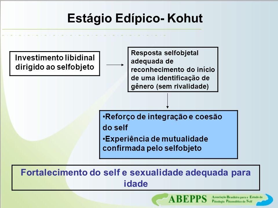 Estágio Edípico- Kohut Fortalecimento do self e sexualidade adequada para idade Investimento libidinal dirigido ao selfobjeto Resposta selfobjetal ade