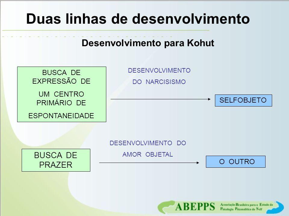 Desenvolvimento para Kohut Duas linhas de desenvolvimento BUSCA DE EXPRESSÃO DE UM CENTRO PRIMÁRIO DE ESPONTANEIDADE DESENVOLVIMENTO DO NARCISISMO SEL
