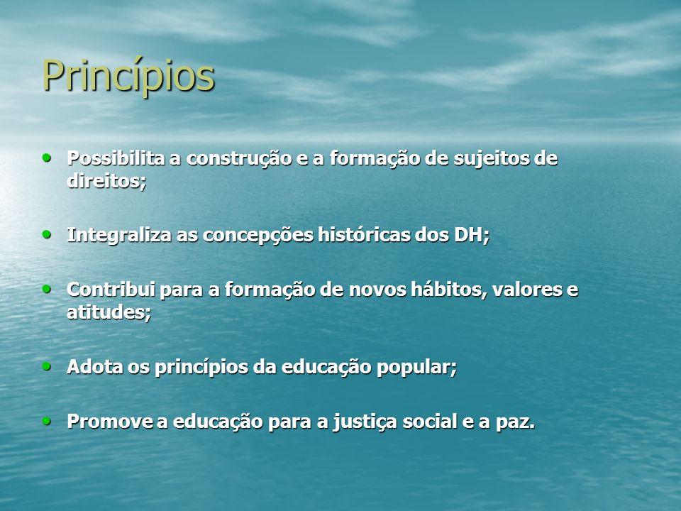 Princípios Possibilita a construção e a formação de sujeitos de direitos; Possibilita a construção e a formação de sujeitos de direitos; Integraliza a