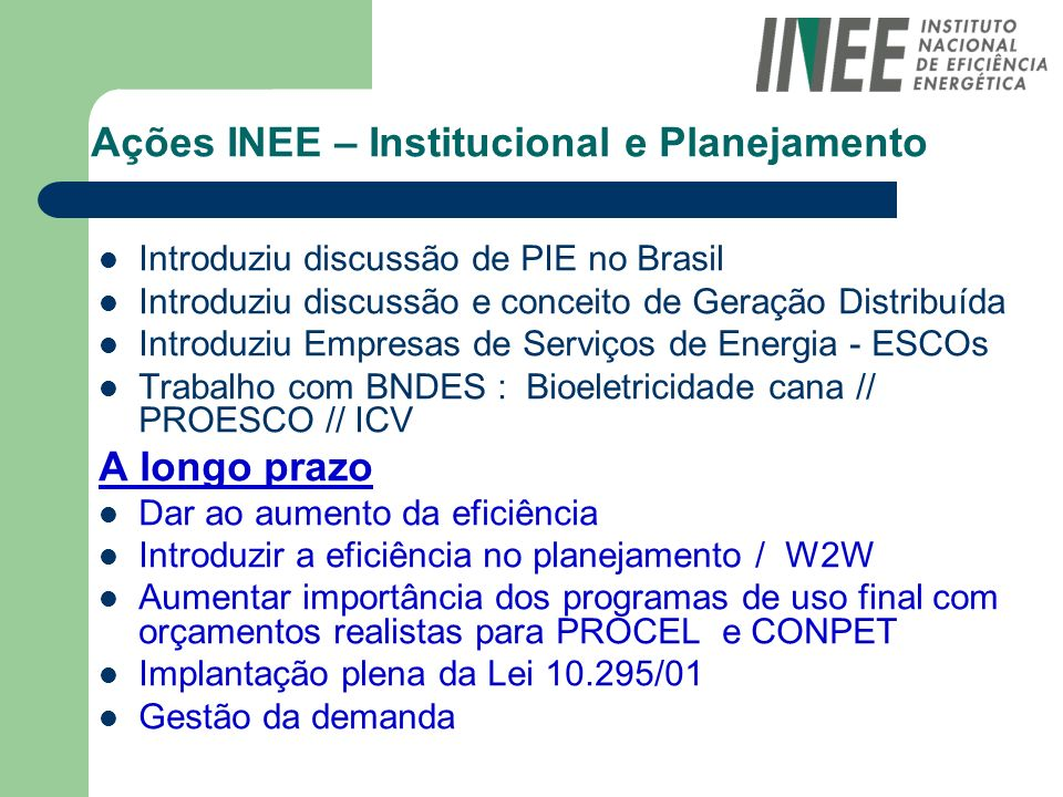 Ações INEE – Institucional e Planejamento Introduziu discussão de PIE no Brasil Introduziu discussão e conceito de Geração Distribuída Introduziu Empr